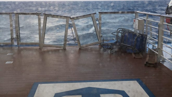 This image made available by Flavio Cadegiani shows damage to the deck of Royal Caribbean's ship Anthem of the Seas, Monday, Feb. 8, 2016. The ship ran into high winds and rough seas in the Atlantic Ocean on Sunday, forcing passengers into their cabins overnight. No injuries were reported and only minor damage to some public areas. The ship is turning around and sailing back to its home port in New Jersey.