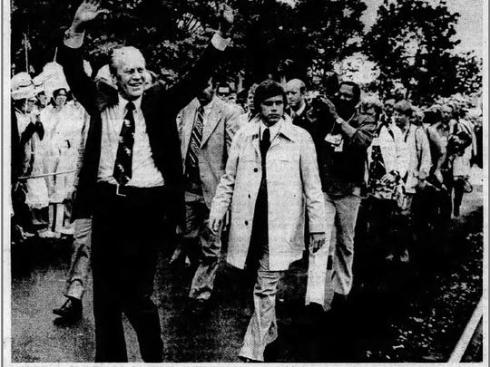President Gerald R. Ford visiting Battle Creek in May of 1976. He visited the city's Amtrak train depot, now a restaurant called Clara's on the River, on the third stop of a Michigan whistle-stop tour.