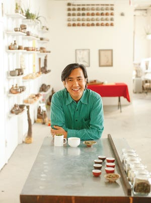 Niraj Lama, in his home base for his Happy Earth Tea business. Lama, who also hosts in-home tea tastings, knows all about the subtleties of tea, including the effect of different growing elevations on individual varieties.