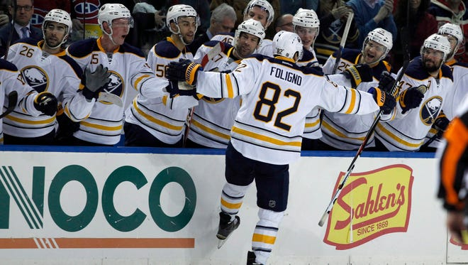 Buffalo Sabres left wing Marcus Foligno (82) celebrates his penalty shot goal against the Montreal Canadiens during the second period at First Niagara Center on Friday, Feb. 12, 2016.