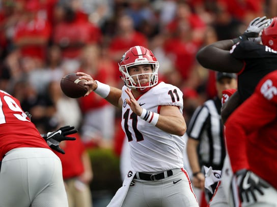 381d869f9 Georgia quarterback Jake Fromm during the first half of the annual spring  game.