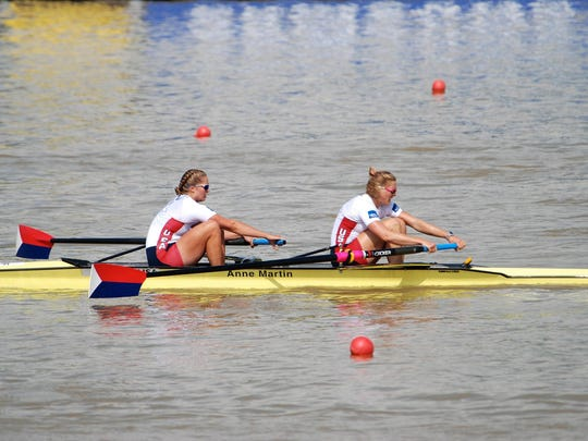 Taylor Goetzinger, left, rowing with Meghan Musnicki at the 2013 World Championships in South Korea.