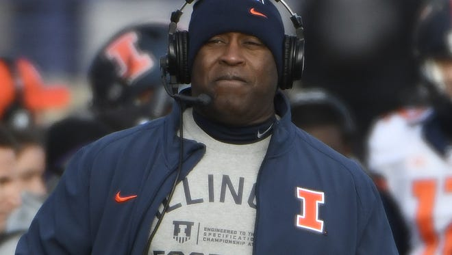Nov 26, 2016; Evanston, IL, USA; Illinois Fighting Illini head coach Lovie Smith walks the sidelines in a game against the Northwestern Wildcats during the first half at Ryan Field. Mandatory Credit: David Banks-USA TODAY Sports
