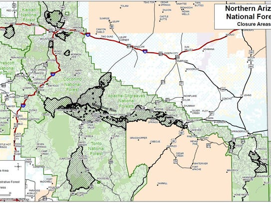 Forest closures in northern Arizona as of May 23, 2018.