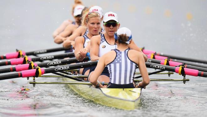 The U.S. women's eight boat wins its heat Monday at Lagoa Stadium.