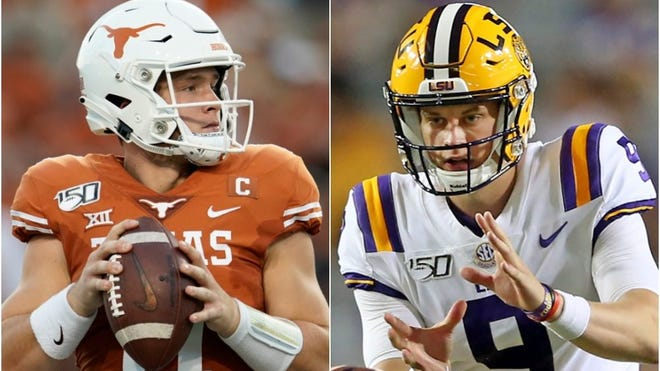 Sam Ehlinger, Joe Burrow (AP Photo)