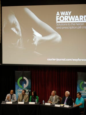 Panel members at Frazier Hall on Bellarmine UniversityÕs campus at the Courier-Journal's panel discussion, A Way Forward, on heroin .  July 21, 2016