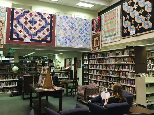 For the past 10 years, the Hayes Ohio Star Quilter's Guild has hung quilts in the Birchard Library, for is national quilt month in March.