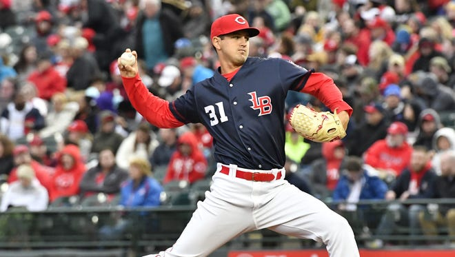 Louisville's Tyler Mahle pitches in to the Cincinnati side during their baseball game at Louisville Slugger Field, Friday, Mar. 31, 2017 in Louisville Ky. (Timothy D. Easley/Special to the C-J)