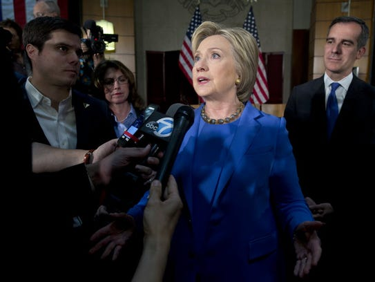 Democratic presidential candidate Hillary Clinton,