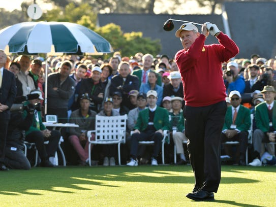 Jack Nicklaus hits his ceremonial tee shot on the 1st