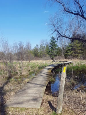 The Ice Age Trail follows a bridge over a marsh at Lapham Peak near Delafield.