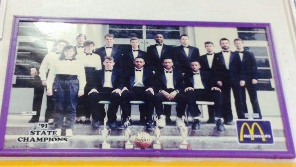 The state championship photo inside Waynesboro High of the 1991 boys' team.