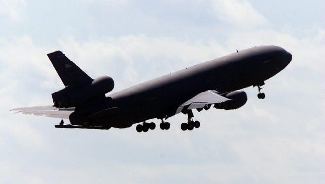 KC-10 plane takes off from McGuire AFB in this 2014 file photo. KC-10 are refueling planes.