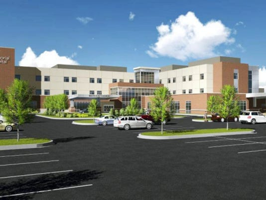 Plans are to break ground this fall on a new Memorial Hospital replacement facility, shown in this rendering.
