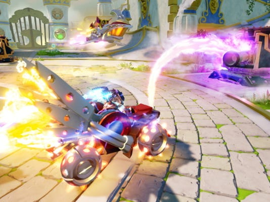"""This photo provided by Activision shows a scene with Hot Streak from the new video game, """"Skylanders SuperChargers,î which releases on Sept. 20, 2015, in North America. (Activision via AP)"""