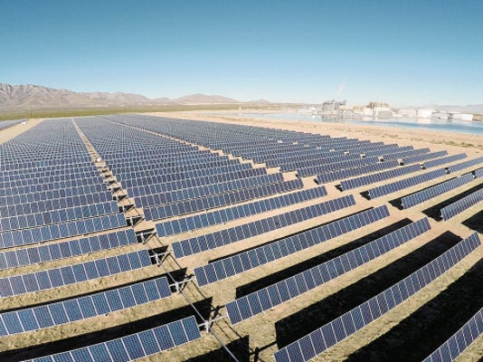 PHOTO COURTESY OF EL PASO ELECTRIC--A proposed 20-megawatt solar power plant on Fort Bliss would look similar to this 10-megawatt plant near the Newman power plant in Northeast El Paso, but would have more solar panels.