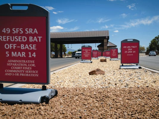 Shown are informational signs spotlighting the names, rank and punishment that Holloman Airmen have received as a result of being convicted of a DUI both on and off base. DUI is not unique to the Air Force or military service, and many believe it will never happen to them. According to the U.S. Department of Transportation, DUI kills nearly 30 people a day in the United States. Many times it is not the offender that suffers, it is their friends or family, or even the family of their victims that are left copping with loss and financial burdens.