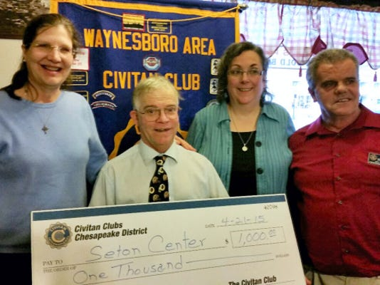 Pictured at Waynesboro Area Civitan Club's April 21 check presentation to Seton Center are, from left, Denise Sauvageau, Seton Center case manager; Robert Stely; and Waynesboro Civitan members Gemma and Mike Wilson.