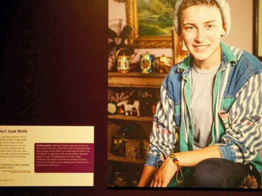 Issak Wolfe, who said he prefers to be referred to as a trans man, is included in an exhibition at the National Constitution Center in Philadelphia about the movement for gay rights.
