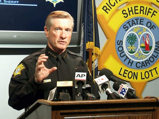In this image taken from video, Richland County Sheriff Leon Lott speaks during a press conference in Columbia, S.C., Tuesday, Oct. 27, 2015. Lott suspended Ben Fields, a senior deputy with the Richland County Sheriff's Department, without pay after a video showed Fields forcibly removing a student who refused to leave her high school math class at Spring Valley High School. (AP Photo/Alex Sanz)