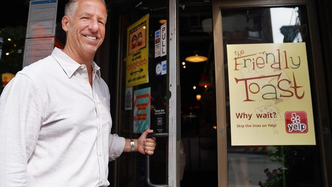 Eric Goodwin, owner of The Friendly Toast restaurants, reopened the doors to the well-known Portsmouth restaurant on Thursday morning.