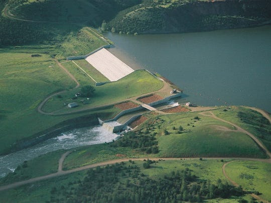 An aerial shot of Tongue River Dam taken in 2007