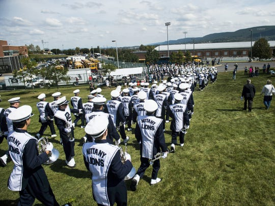 The Penn State Blue Band marches to the Bryce Jordan Center on Sept. 26 at University Park.  The band held its second-annual Unrivaled Band Jam at the arena and hosted 12 high school marching bands to perform and meet musicians of the Penn State Blue Band.