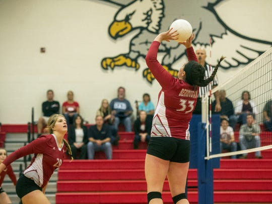 Bermudian Springs senior Gabrielle Emeigh sets the ball during Thursday's match against York County Tech. Emeigh played varsity for just three years but on Thursday broke the school records for career assists and aces.