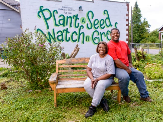 Keep Growing Detroit Project  Mark and Lorraine Covington at the Georgia Street Garden.