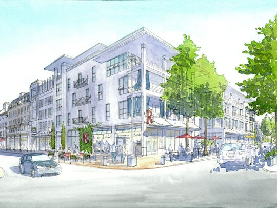 In this rendering, the existing four-story building