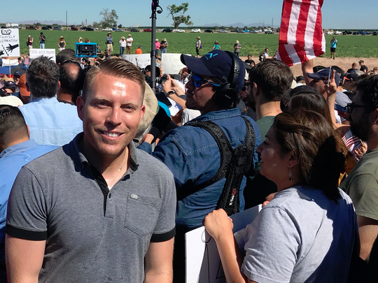 El Paso County Judge Ruben Vogt on Sunday in Tornillo joins hundreds who protested the separation of immigrant families.
