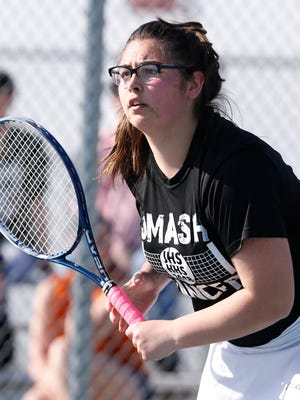 Elise Flanery of Harrison gets set to receive the serve as she and Sydney Jacobsen face Chandler Rasmussen and Sydney Gregory of Lafayette Jeff at No. 1 doubles Friday, April 27, 2018, in West Lafayette.