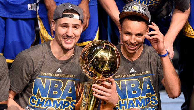 Golden State Warriors guard Klay Thompson (11) and guard Stephen Curry (30) have their team at the top of the power rankings entering the season.