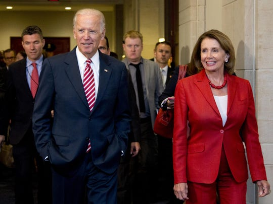 Former Vice President Joe Biden and House Speaker Nancy Pelosi leave a meeting with the House Democratic Caucus, Wednesday, July 15, 2015, on Capitol Hill in Washington.