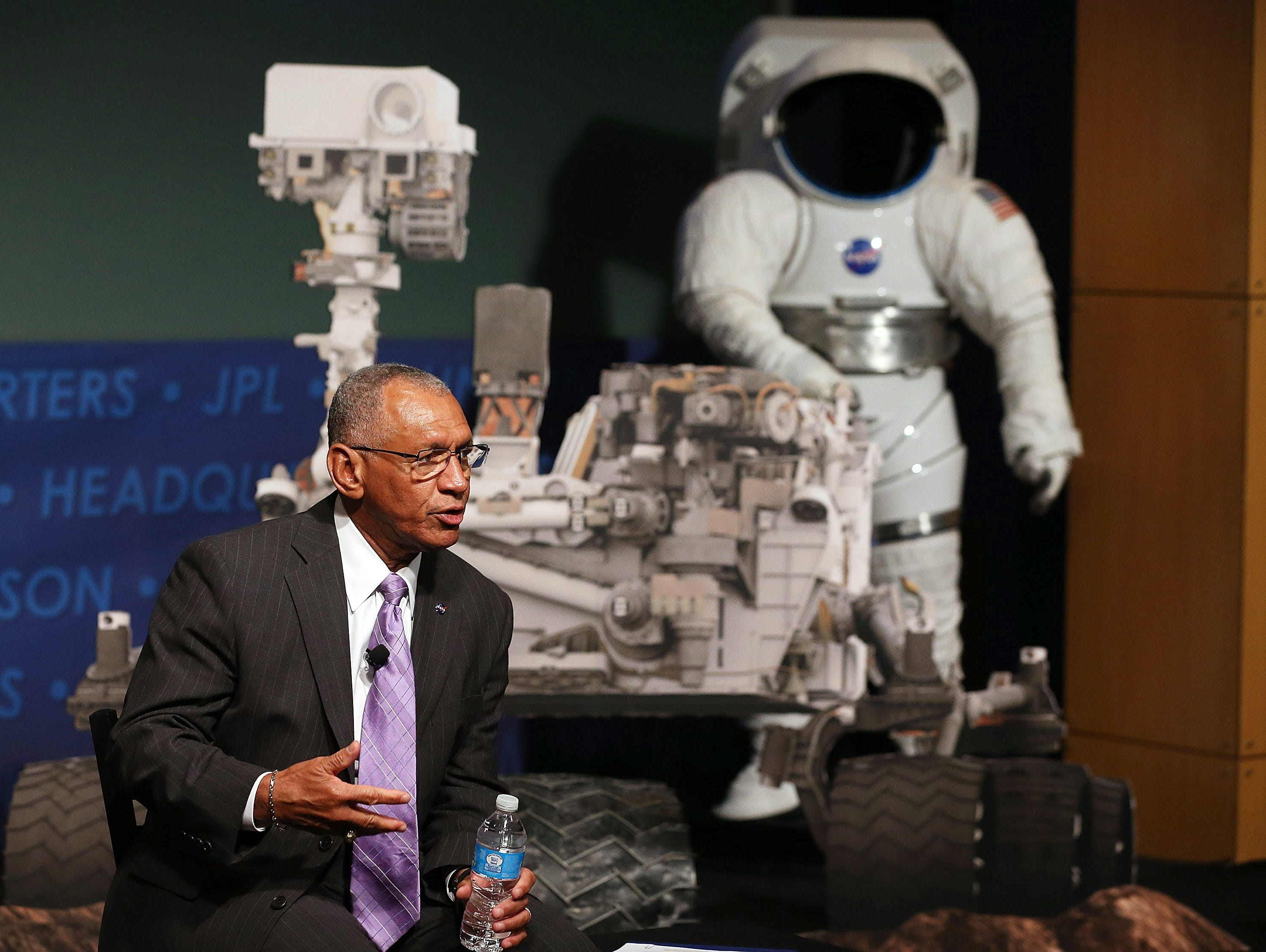 NASA Administrator Charles Bolden speaks about the Curiosity rover during an event at NASA headquarters, Aug. 6  in Washington, D.C. The event was held to observe the first anniversary of NASA's Curiosity rover landing on Mars.