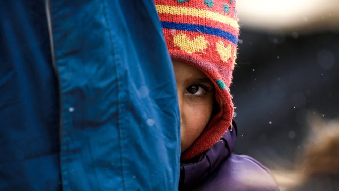 A displaced Syrian child is pictured in this Feb. 1, 2017 image from a refugee camp in al-Hawl, Syria.