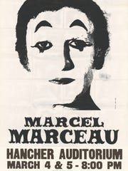 A poster promoting Marcel Marceau's March 15, 1980