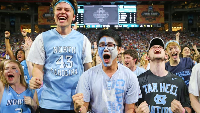 North Carolina fans cheer during the second half of the NCAA Final Four semifinal game against Oregon at University of Phoenix Stadium in Glendale on April 1, 2017.