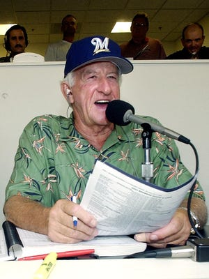 Milwaukee Brewers radio announcer Bob Uecker works during a 2003 game at Miller Park in Milwaukee.