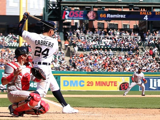 Miguel Cabrera bats during the eighth inning of the Tigers' 4-1 win over the Red Sox on April 8, 2017 at Comerica Park.