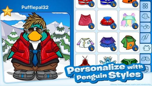A screenshot from 'Club Penguin.'
