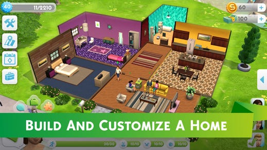 A screenshot from 'The Sims Mobile.'