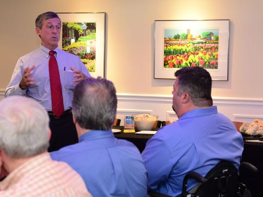 Delaware Governor John Carney and Senator Gerald Hocker met with local small business owners to hear their concerns on Wednesday, August 16, 2017 at the Cottage Cafe in Bethany Beach, Delaware.
