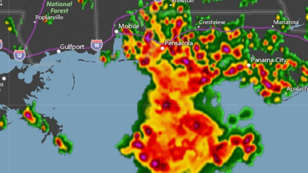 """Pensacola """"future"""" radar image for the afternoon of Saturday, June 30, 2018."""