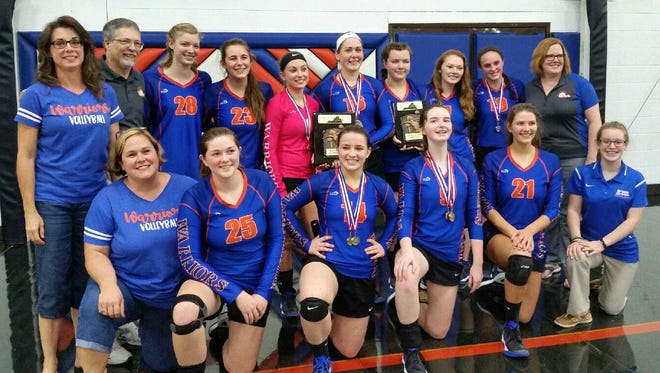 Grace Christian volleyball won the VACA north regional tournament this past weekend. Front row, from left,   Kati Grow (scorekeeper), Ashland Allred, Merab Yeomans, Emma Elam, Marianna Ridenour, Hannah Doty (manager). Back Row, from left, Teresa Stevens (scorekeeper), Jody Lohr (head coach), Alyse Shifflett, Caroline Reid, Natalie Stevens, Marigrace Grow, Danielle Hagenseker, Jacqueline Showalter, Laura Shaw, and Joy Lohr (assistant coach).