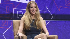 """In this Oct. 20, 2018 file photo, Ann Coulter participates in the """"AAA: Ask Ann Anything"""" panel at Politicon at the Los Angeles Convention Center. President Donald Trump defended himself Saturday from a conservative backlash that he himself unleashed when he ended the 35-day-old partial government shutdown without money for his promised border wall. Coulter, a big supporter of a barrier on the southern border, called Trump the """"biggest wimp"""" ever to occupy the Oval Office."""