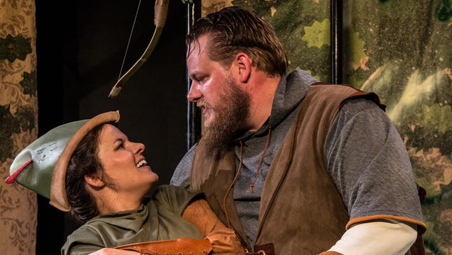 """One of the most affecting romances in Adam Szymkowicz's """"Marian, or the True Tale of Robin Hood,"""" brings together Maid Marian (Maggie Lou Rader, ) and Little John (Chris Wesselman). The show is the opening production of Know Theatre of Cincinnati's 20th season."""