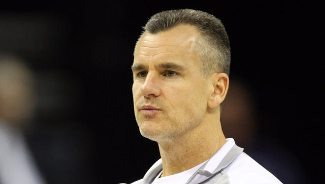 Florida Gators head coach Billy Donovan looks on during practice for the south regional of the 2014 NCAA Mens Basketball Championship.