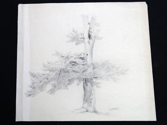 One of the sketches attributed to Adolf Hitler that